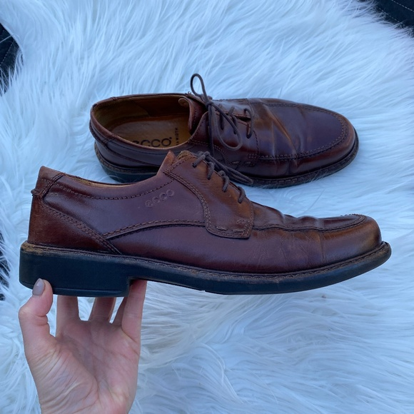Ecco Lace Up Leather Brown Loafer Dress Shoe